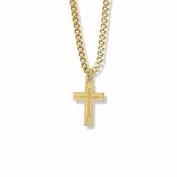 3/4 Inch 14K Gold Over Sterling Silver Lined and Inner Cross Necklace