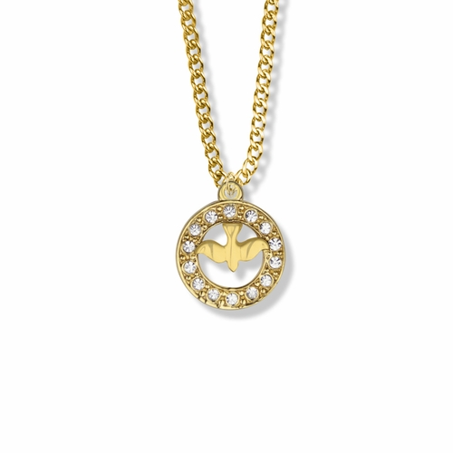 3/4 Inch 14K Gold Over Sterling Silver Open Circle Dove Necklace with Cubic Zirconia Stones