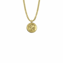 3/4 Inch 14KT Gold Plated Over Sterling Silver  Round St. Michael Medal, Patron Saint of Police Officers