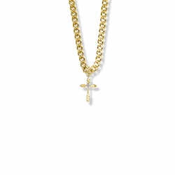 3/4 Inch 14K Gold Over Sterling Silver Wheat Ends Cross Necklace with Cubic Zirconia Stone
