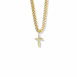 3/4 Inch 14K Over Sterling Silver Oval Ends Cross Necklace with Cubic Zirconia Stone
