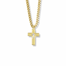 3/4 Inch Brass Gold Plated Boy First Communion Pierced Cross Necklace