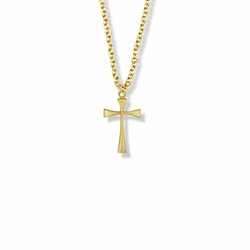3/4 Inch Brass Gold Plated Girl Maltese First Communion Cross Necklace