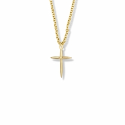 3/4 Inch Brass Gold Plated Girl Pointed First Communion Cross Necklace