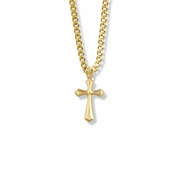3/4 Inch Gold Plated Flared and Pointed Ends Cross Necklace