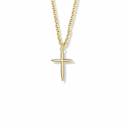 3/4 Inch Gold Plated Tapered Cross Necklace