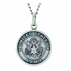 3/4 Inch Round Nickel Silver U.S. Army Medal with Christ Strengthens Me on Back
