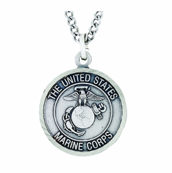 3/4 Inch Round Nickel Silver U.S. Marines Medal with Christ Strengthens Me on Back