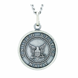 3/4 Inch Round Nickel Silver U.S. Navy Medal with Christ Strengthens Me on Back