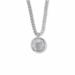 15/16 Inch Round Sterling Silver Boy's Basketball Player Medal with Cross on Back