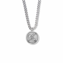 15/16 Inch Round Sterling Silver Boy's Football Player Medal with Cross on Back