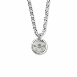 15/16 Inch Round Sterling Silver Lacrosse Medal with Cross on Back