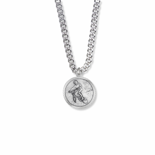 15/16 Inch Round Sterling Silver Boy's Off Road Biker Medal with Cross on Back