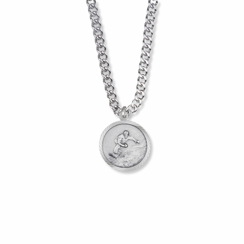 15/16 Inch Round Sterling Silver Boy's Snowboarder Medal with Cross on Back