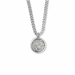 15/16 Inch Round Sterling Silver Soccer Medal with Cross on Back