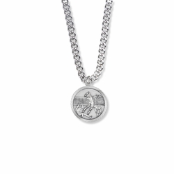 15/16 Inch Round Sterling Silver Boy's Volleyball Player Medal with Cross on Back
