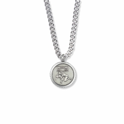 15/16 Inch Round Sterling Silver Boy's Wrestler Medal with Cross on Back