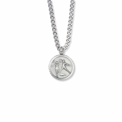 15/16 Inch Round Sterling Silver Girl's Cheerleader Medal with Cross on Back
