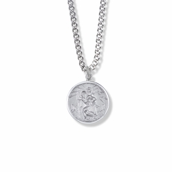 3/4 Inch Round Sterling Silver St. Christopher Medal, Patron of Travelers