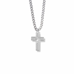 3/4 Inch Silver Plated Boy First Communion Pierced Cross Necklace