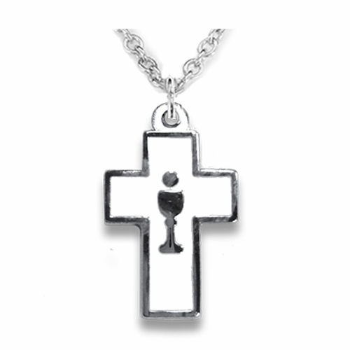 3/4 Inch Silver Plated Enameled Cross and Centered Chalice Necklace