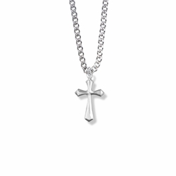 3/4 Inch Silver Plated Flared and Pointed Ends Cross Necklace