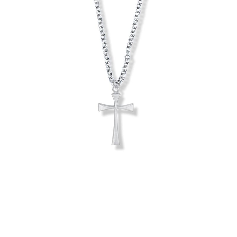 1 3//4 inch tall w// 30 inch Chain Stainless Steel Cross Necklace CZ Stones 3-color Black /& Gold