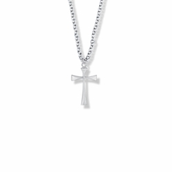 3/4 Inch Silver Plated Girl Maltese First Communion Cross Necklace