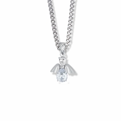 3/4 Inch Sterling Silver and Glass Crystal April Birthstone Angel Necklace