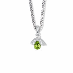3/4 Inch Sterling Silver and Glass Crystal August Birthstone Angel Necklace