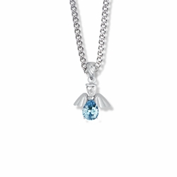 3/4 Inch Sterling Silver and Glass Crystal December Birthstone Angel Necklace