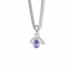 3/4 Inch Sterling Silver and Glass Crystal February Birthstone Angel Necklace