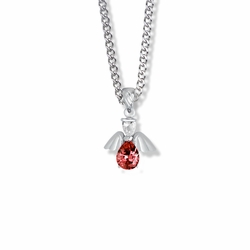 3/4 Inch Sterling Silver and Glass Crystal July Birthstone Angel Necklace