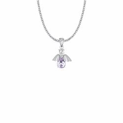 3/4 Inch Sterling Silver and Glass Crystal June Birthstone Angel Necklace