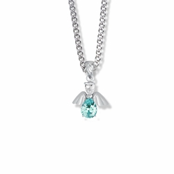 3/4 Inch Sterling Silver and Glass Crystal March Birthstone Angel Necklace
