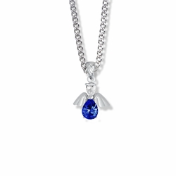 3/4 Inch Sterling Silver and Glass Crystal September Birthstone Angel Necklace