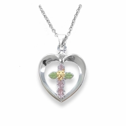 3/4 Inch Sterling Silver and Gold Enameled Heart with Inner Cross Necklace
