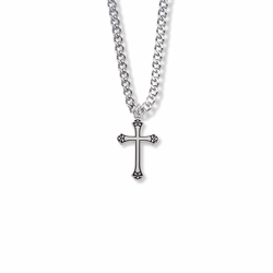 3/4 Inch Sterling Silver Antiqued Budded Ends Cross Necklace
