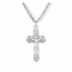 3/4 Inch Sterling Silver Antiqued Scroll Ends Crucifix Necklace