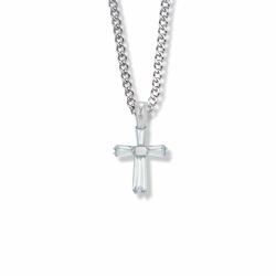 3/4 Inch Sterling Silver and Glass Crystal April Birthstone Baguette Cross Necklace