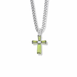 3/4 Inch Sterling Silver August Birthstone Baguette Cross Necklace with CZ Crystals