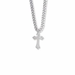 3/4 Inch Sterling Silver Budded and Pointed Ends Cross Necklace
