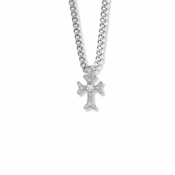 3/4 Inch Sterling Silver Budded Ends and Crystal CZ Stone Cross Necklace