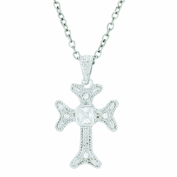 3/4 Inch Sterling Silver Budded Ends and CZ Stone Cross Necklace