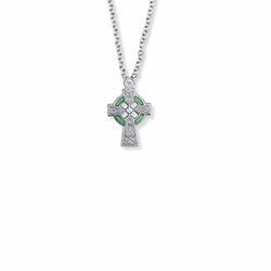 3/4 Inch Sterling Silver Celtic Cross with Green Enamel Detail Baby Cross Necklace