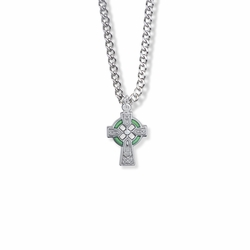 3/4 Inch Sterling Silver Celtic Cross with Green Enamel Detail Cross Necklace