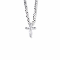 3/4 Inch Sterling Silver Crystal CZ Stones Bow Cross Necklace