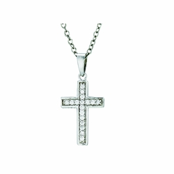 3/4 Inch Sterling Silver Crystal CZ Stones Cross Necklace