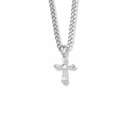 3/4 Inch Sterling Silver Cubic Zirconia Baguette Cross Necklace