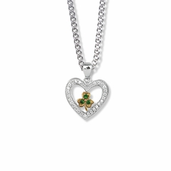 3/4 Inch Sterling Silver CZ Stone Heart with Shamrock Center Pendant